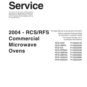 Amana Microwave Oven Service Manual 14
