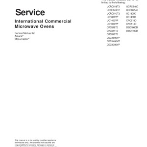 Amana Microwave Oven Service Manual 20