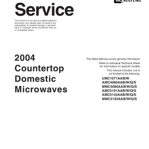 Amana Amv6177a Microwave Oven Service Manual