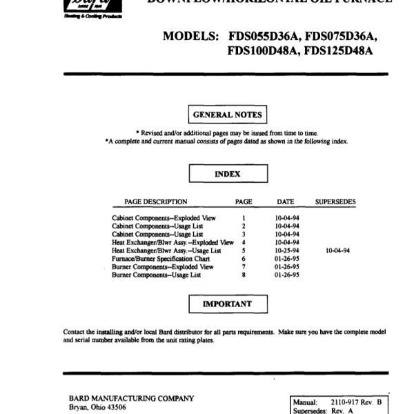 Bard Oil Furnace Parts Manual 03