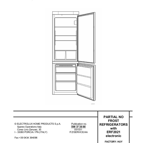 Electrolux Models ANB3450, ENB3450, ZNB3450, ENB3850, ZNB3850 Refrigerator  Service Manual
