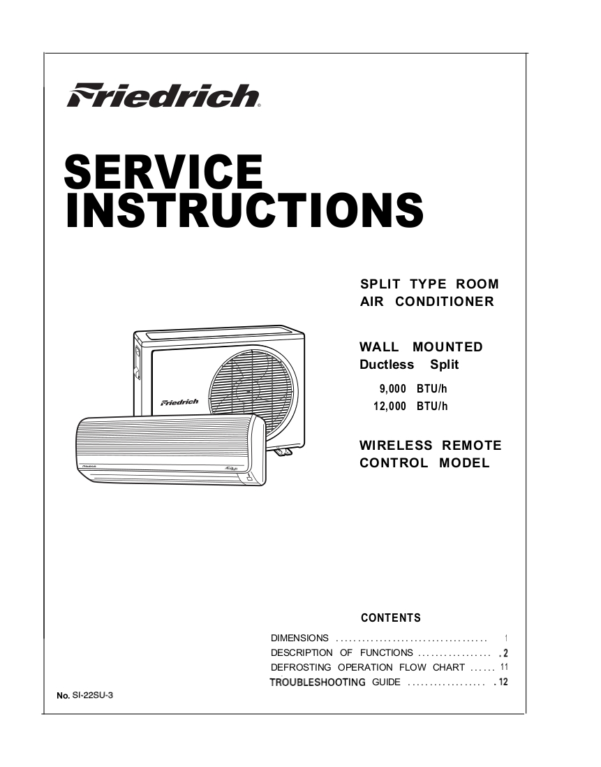 Step Right Up Appliance Service Manuals Air Con Mini Split Wiring Diagram Friedrich Remote Control Conditioner Manual