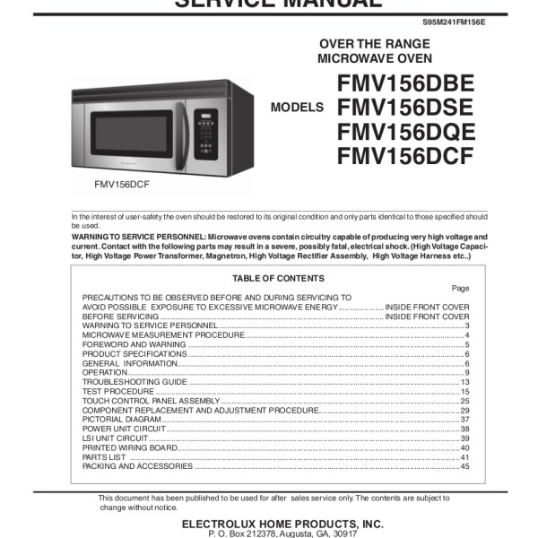 Frigidaire Model Fmv156d Microwave Oven Service Manual