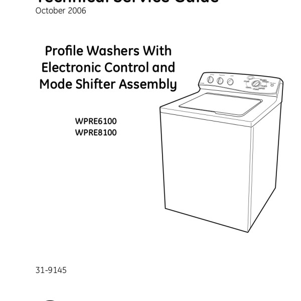 GE Models WPRE6100 and WPRE8100 Washer Service Manual