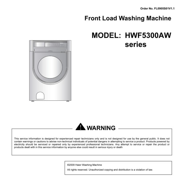 Haier Model HWF5300AW Front Load Washer Service Manual