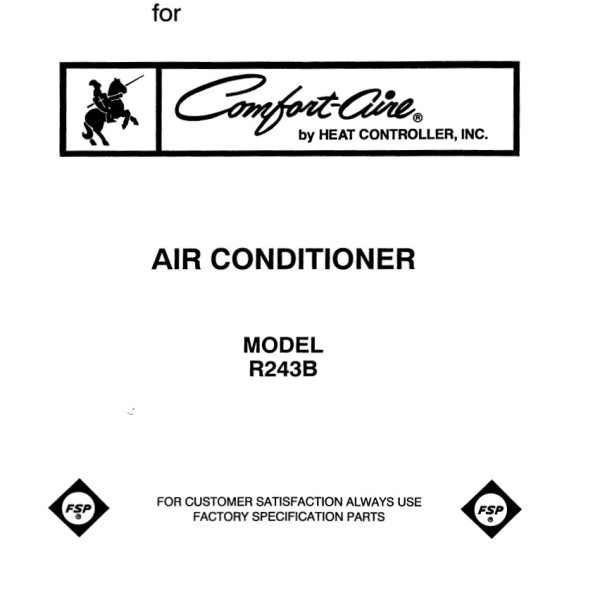 Comfort-Aire Model R243B Air Conditioner Parts Manual
