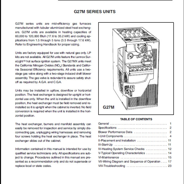 Lennox G27M Furnace Service Manual