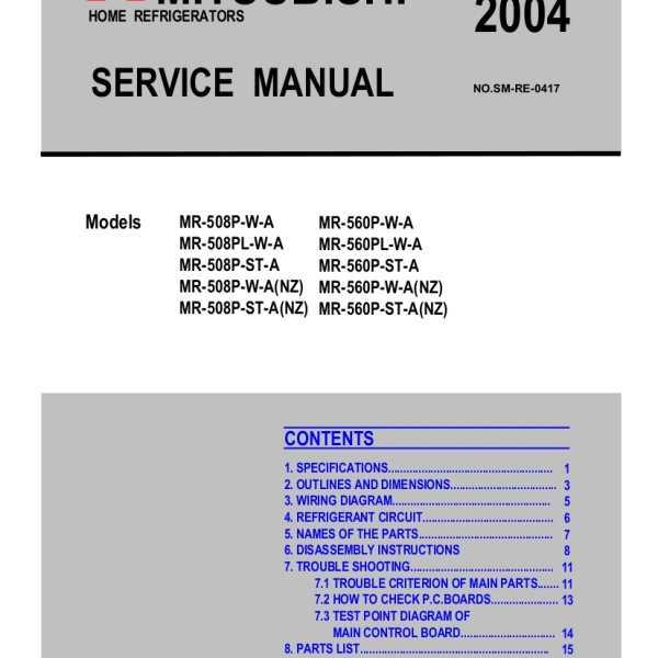 step right up appliance service manuals rh new2 steprightupmanuals com 97 Eclipse Wiring-Diagram Mitsubishi Forklift Wiring Diagram