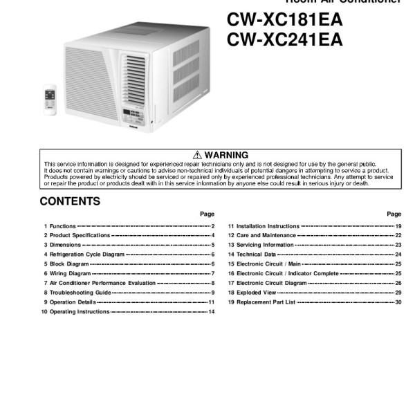Panasonic Air Conditioner Service Manual for Models CW-XC241EA, CW-XC181EA,  CWXC241EA, CWXC181EA