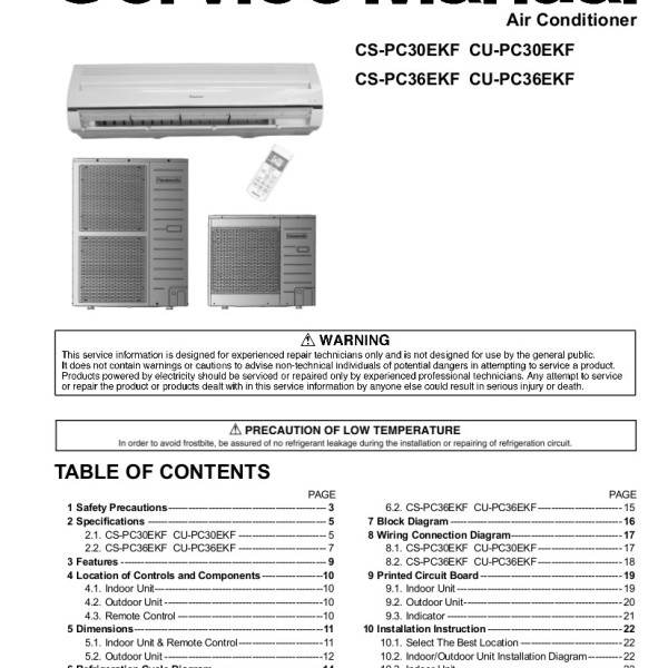 Panasonic Air Conditioner Service Manual for Models CS-PC30EKF, CU-PC30EKF,  CS-PC36EKF, CU-PC36EKF, CSPC30EKF, CUPC30EKF, CSPC36EKF, CUPC36EKF