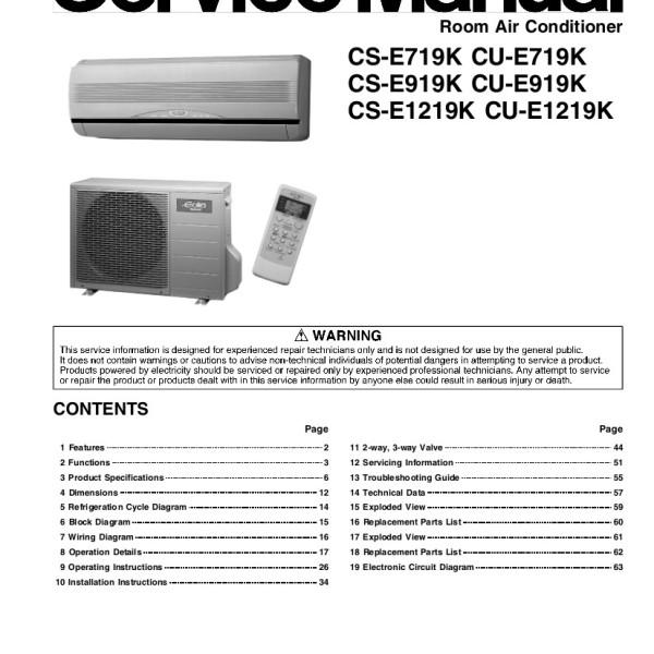 Panasonic Air Conditioner Service Manual for Models CS-E719K, CU-E719K,  CS-E919K, CU-E919K, CS-E1219K, CU-E1219K, CSE719K, CUE719K, CSE919K,  CUE919K,