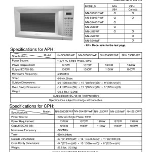 Panasonic Microwave Oven Service Manual For Models Nn S560bf S560wf S550bf S550wf S540bf S540wf L530bf L530wf L520wf