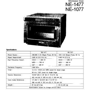 Panasonic Models NE1077 and NE1477 Microwave Oven Service Manual