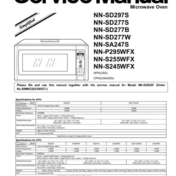 Panasonic Models NNSD297S and NNSD277S Microwave Oven Service Manual