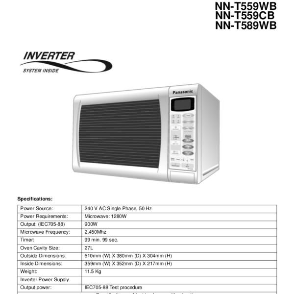 Panasonic Models NN-T559WB, NN-T559CB, NN-T589WB Microwave Oven Service  Manual