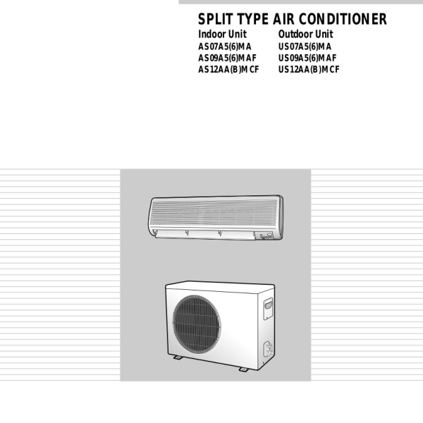 Samsung Air Conditioner ManualUser Manual Samsung Aqv09fan Page