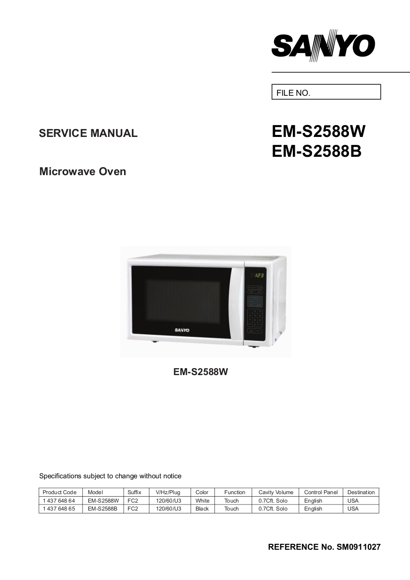 Sanyo Models Em S2588w And S2588b Microwave Oven Parts Manual