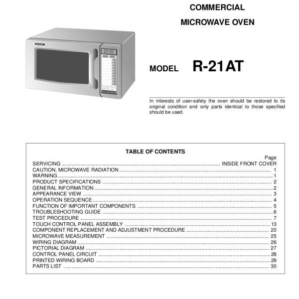 Sharp Microwave Oven Model R 21at Service Manual