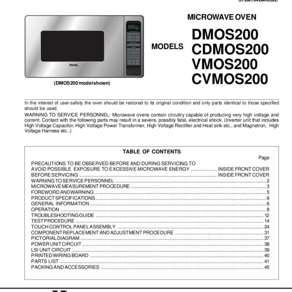 Viking Models Dmos200 Cdmos200 Vmos200 Cvmos200 Microwave