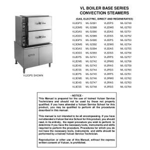 Vulcan Convection Streamer Service Manual For Models Vl2gps Vl2dps Vl2gms Vl2dms Vl2gas Vl2das